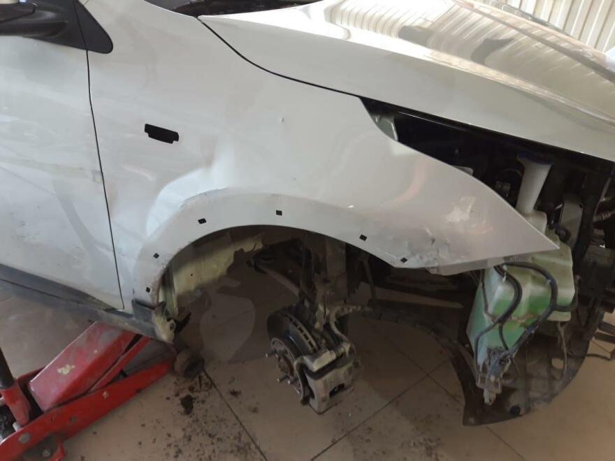 Kia Rio фото процесс ремонта крыла