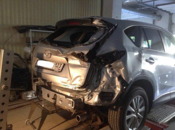Mazda CX-5 восстановление заднего бампера